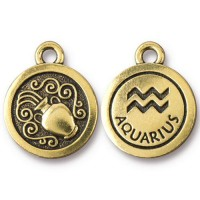 19mm Zodiac Sign Aquarius Charm by TierraCast, Antique Gold