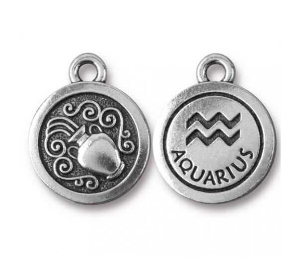 19mm Zodiac Sign Aquarius Charm by TierraCast, Antique Silver