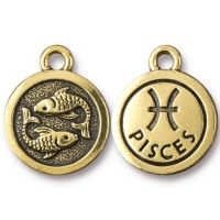 19mm Zodiac Sign Pisces Charm by TierraCast, Antique Gold