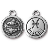19mm Zodiac Sign Pisces Charm by TierraCast, Antique Silver