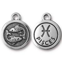 19mm Zodiac Sign Pisces Charm by TierraCast, Antique Silver