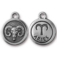 19mm Zodiac Sign Aries Charm by TierraCast, Antique Silver