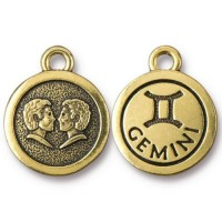 19mm Zodiac Sign Gemini Charm by TierraCast, Antique Gold