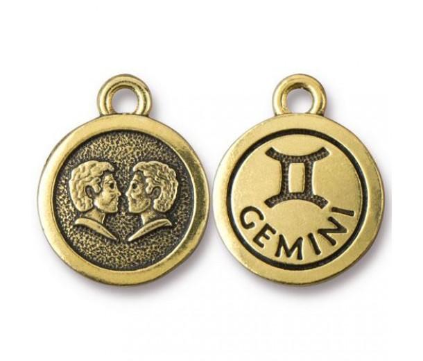 19mm Zodiac Sign Gemini Charm by TierraCast, Antique Gold