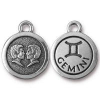 19mm Zodiac Sign Gemini Charm by TierraCast, Antique Silver