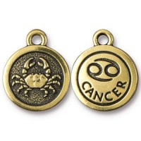 19mm Zodiac Sign Cancer Charm by TierraCast, Antique Gold