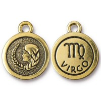 19mm Zodiac Sign Virgo Charm by TierraCast, Antique Gold