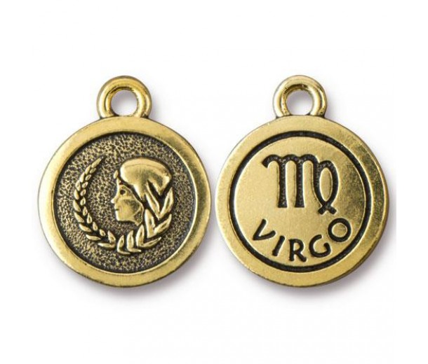 19mm Zodiac Sign Virgo Charm by TierraCast, Antique Gold