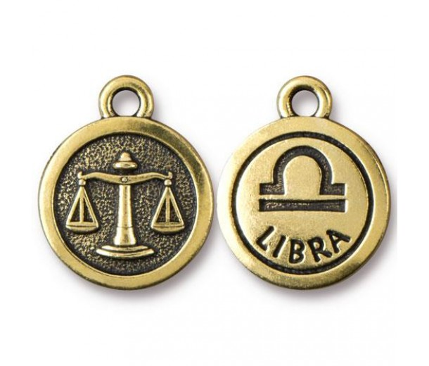 19mm Zodiac Sign Libra Charm by TierraCast, Antique Gold