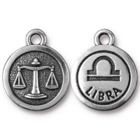 19mm Zodiac Sign Libra Charm by TierraCast, Antique Silver