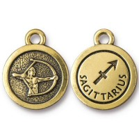 19mm Zodiac Sign Sagittarius Charm by TierraCast, Antique Gold