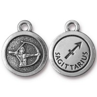 19mm Zodiac Sign Sagittarius Charm by TierraCast, Antique Silver