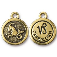 19mm Zodiac Sign Capricorn Charm by TierraCast, Antique Gold