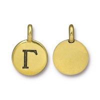 16mm Greek Letter Gamma Charm by TierraCast, Antique Gold
