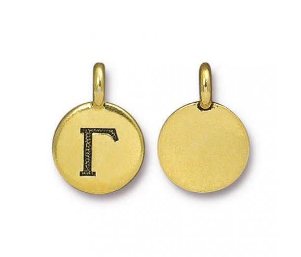 16mm Greek Letter Gamma Charm by TierraCast, Antique Gold, 1 Piece