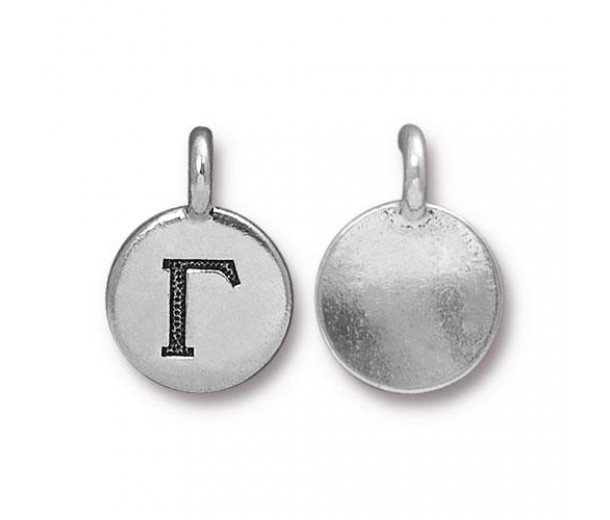 16mm Greek Letter Gamma Charm by TierraCast, Antique Silver, 1 Piece