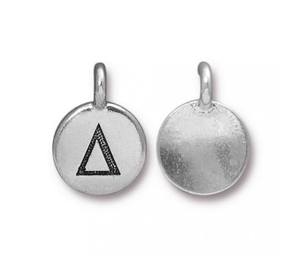 16mm Greek Letter Delta Charm by TierraCast, Antique Silver, 1 Piece