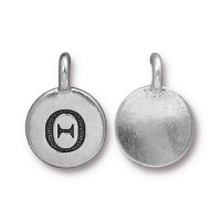 16mm Greek Letter Theta Charm by TierraCast, Antique Silver, 1 Piece