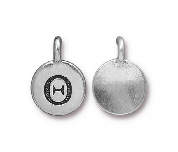 16mm Greek Letter Theta Charm by TierraCast, Antique Silver