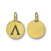16mm Greek Letter Lamda Charm by TierraCast, Antique Gold