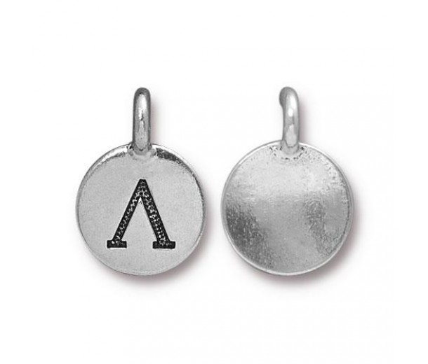 16mm Greek Letter Lamda Charm by TierraCast, Antique Silver, 1 Piece