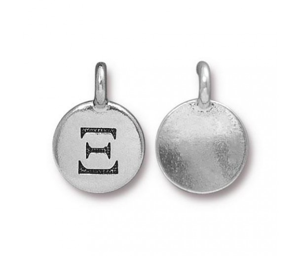 16mm Greek Letter Xi Charm by TierraCast, Antique Silver, 1 Piece