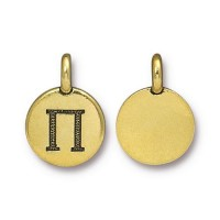 16mm Greek Letter Pi Charm by TierraCast, Antique Gold, 1 Piece