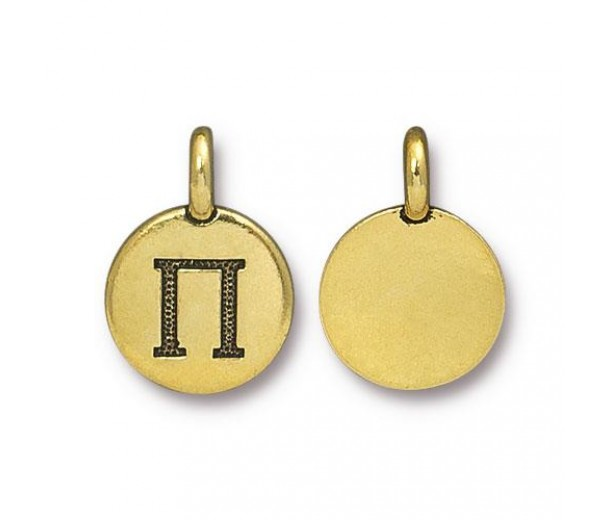 16mm Greek Letter Pi Charm by TierraCast, Antique Gold, 1 Piece