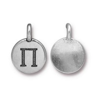 16mm Greek Letter Pi Charm by TierraCast, Antique Silver, 1 Piece