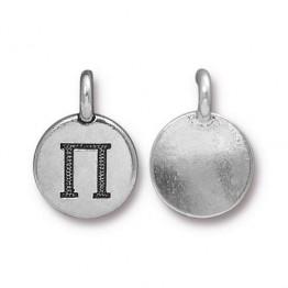 16mm Greek Letter Pi Charm by TierraCast, Antique Silver