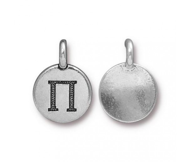 16mm Greek Letter Pi Charm by TierraCast, Antique Silver