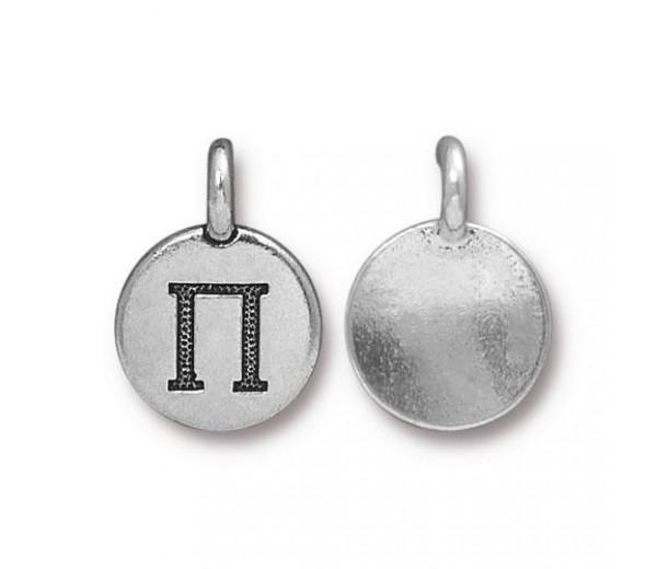 16mm Greek Letter Pi Charm by TierraCast, Antique Silver, 1 Piece