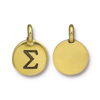 16mm Greek Letter Sigma Charm by TierraCast, Antique Gold, 1 Piece
