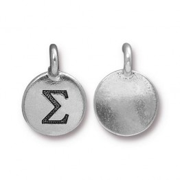 16mm Greek Letter Sigma Charm by TierraCast, Antique Silver