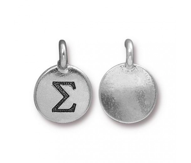 16mm Greek Letter Sigma Charm by TierraCast, Antique Silver, 1 Piece