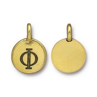 16mm Greek Letter Phi Charm by TierraCast, Antique Gold