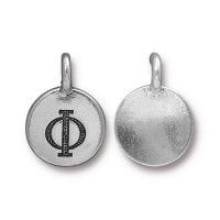 16mm Greek Letter Phi Charm by TierraCast, Antique Silver, 1 Piece