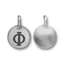 16mm Greek Letter Phi Charm by TierraCast, Antique Silver