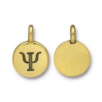 16mm Greek Letter Psi Charm by TierraCast, Antique Gold