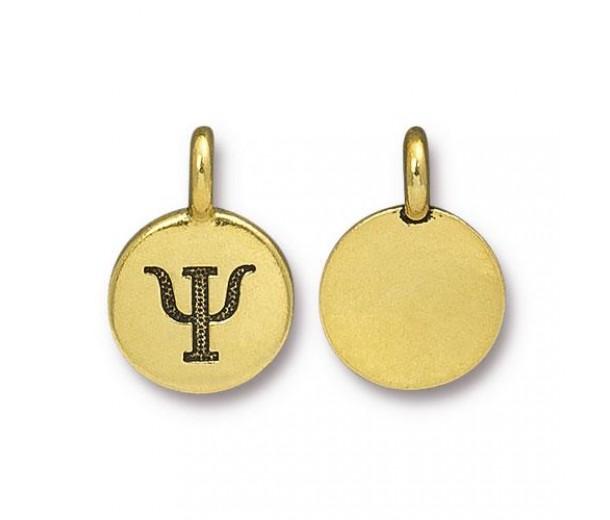 16mm Greek Letter Psi Charm by TierraCast, Antique Gold, 1 Piece