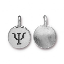16mm Greek Letter Psi Charm by TierraCast, Antique Silver