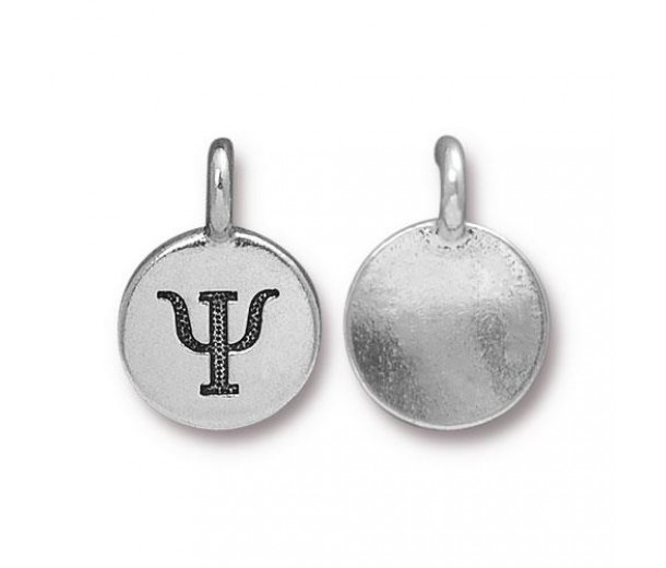 16mm Greek Letter Psi Charm by TierraCast, Antique Silver, 1 Piece