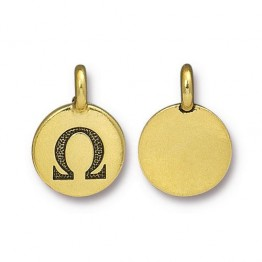 16mm Greek Letter Omega Charm by TierraCast, Antique Gold