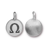 16mm Greek Letter Omega Charm by TierraCast, Antique Silver