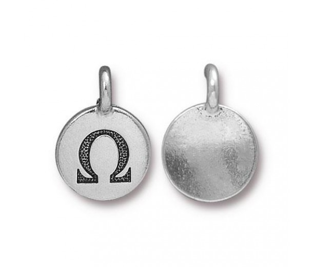 16mm Greek Letter Omega Charm by TierraCast, Antique Silver, 1 Piece