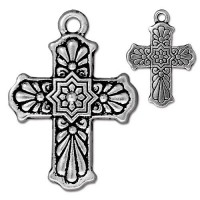 29mm Talavera Cross Charm by TierraCast, Antique Silver