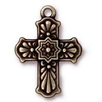 29mm Talavera Cross Charm by TierraCast, Antique Brass