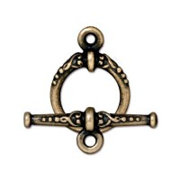 24mm Heirloom Toggle Clasp Set by TierraCast, Brass Oxide