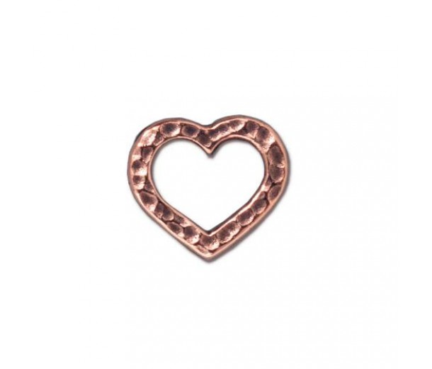 12x14mm Hammertone Heart Link by TierraCast, Antique Copper, 1 Piece