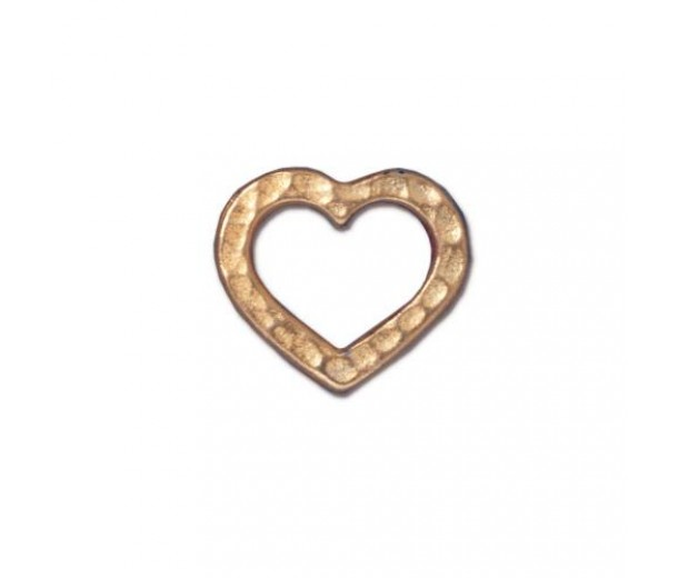 12x14mm Hammertone Heart Link by TierraCast, Bright Gold